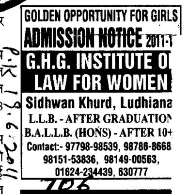 BA and LLB Course (GHG Institute of Law for Women Sidhwan Khurd)