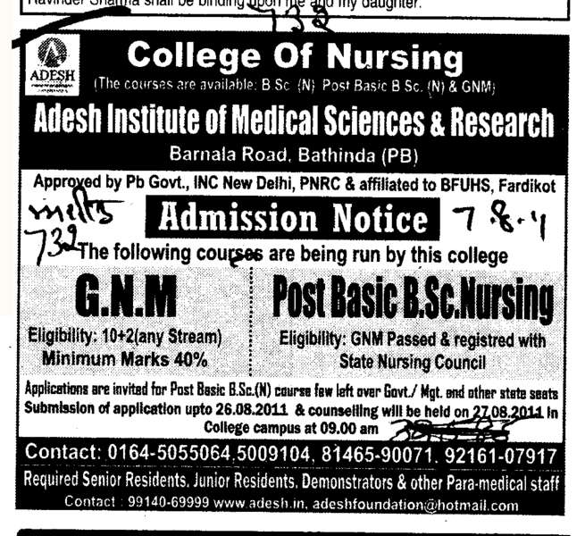 GNM and Post Basic B Sc Nursing (Adesh Institute of Medical Sciences and Research)