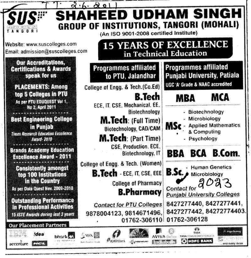 MTech BTech BBA MCA MBA and PGDCA etc (SUS Group of Institutions)
