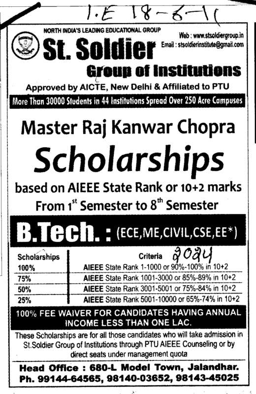 BTech in ECE ME Civil and EE etc (St Soldier Group)