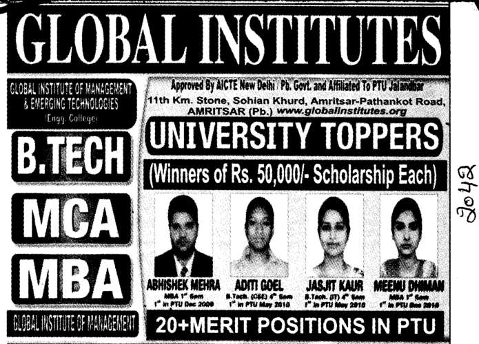BTech MBA and MCA (Global Institutes Group)