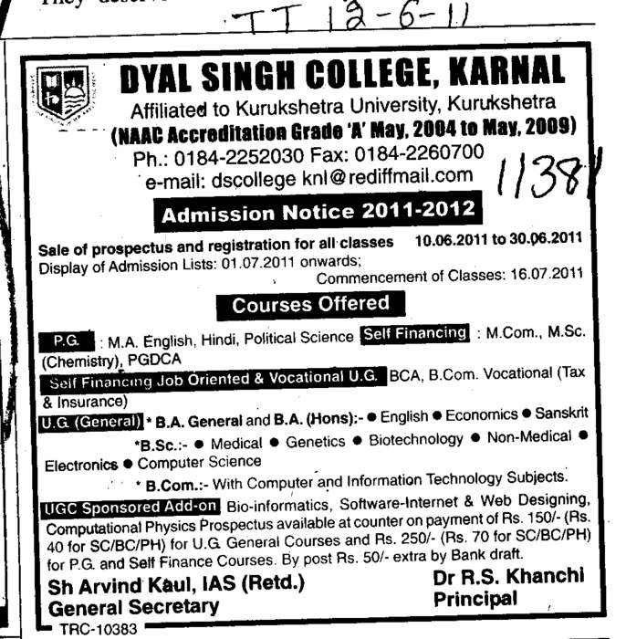 BA BCom BCA BSc and MSc etc (Dyal Singh College)