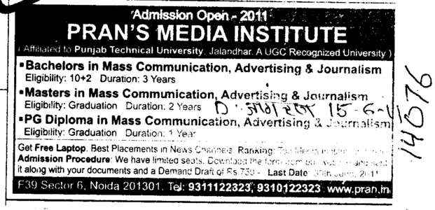 Bachelor in Mass Communication Advertising and Master in Mass Communication etc (Prans Media Institute (PTU Learning Centre))