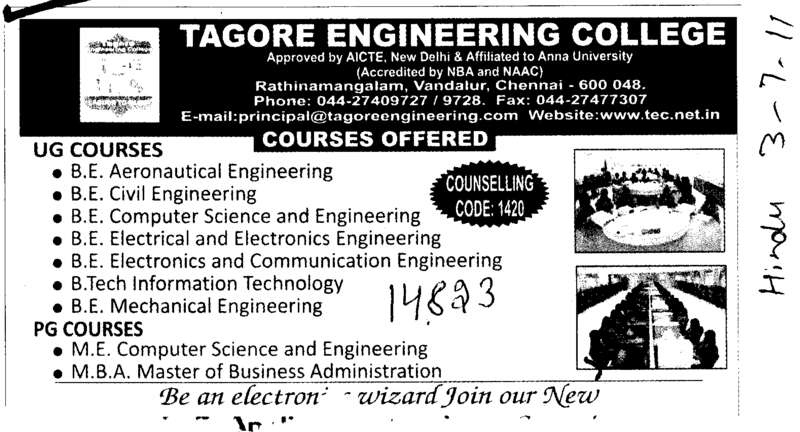 BE in Aeronautical Civil and Mechanical Engineering etc (Tagore Engineering College)