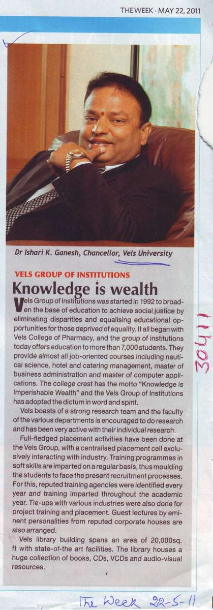 Knowledge is wealth (VELS University)