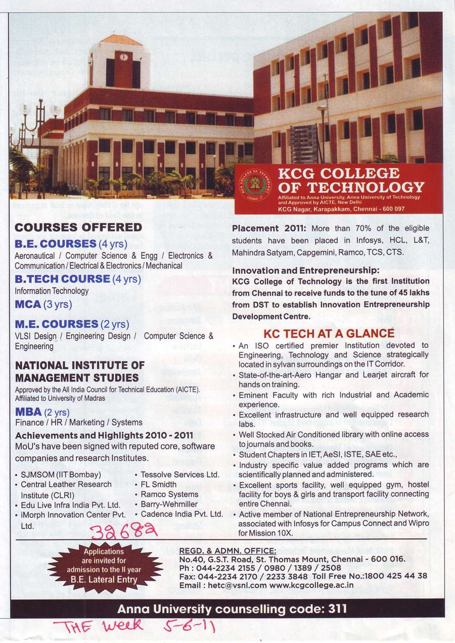 BE BTech MCA and ME Courses (KCG College of Technology)
