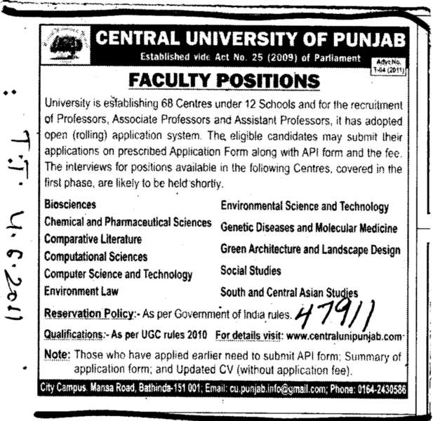 Proffessors Assistant Proffessors and Associate Proffessors (Central University of Punjab)