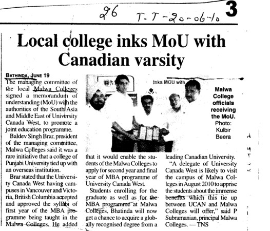 Local college inks MoU with Canadian varsity (Malwa College (earlier RCMT))