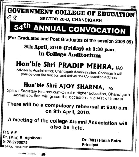 54th Annual Convocation (Government College of Education (Sector 20))