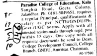 Principal on Regular basis (Paradise College of Education)