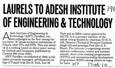 Laurels to Adesh Institute of Engineering and Technology (Adesh Institute of Engineering and Technology (AIET))