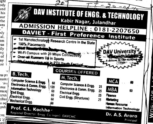 MTech BTech BBA MCA MBA and PGDCA etc (DAV Institute of Engineering and Technology DAVIET)