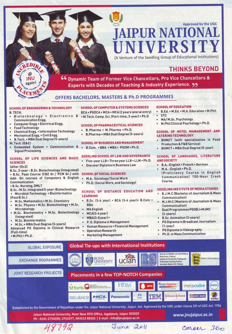 Bachelor Master and Ph D Programme (Jaipur National University)