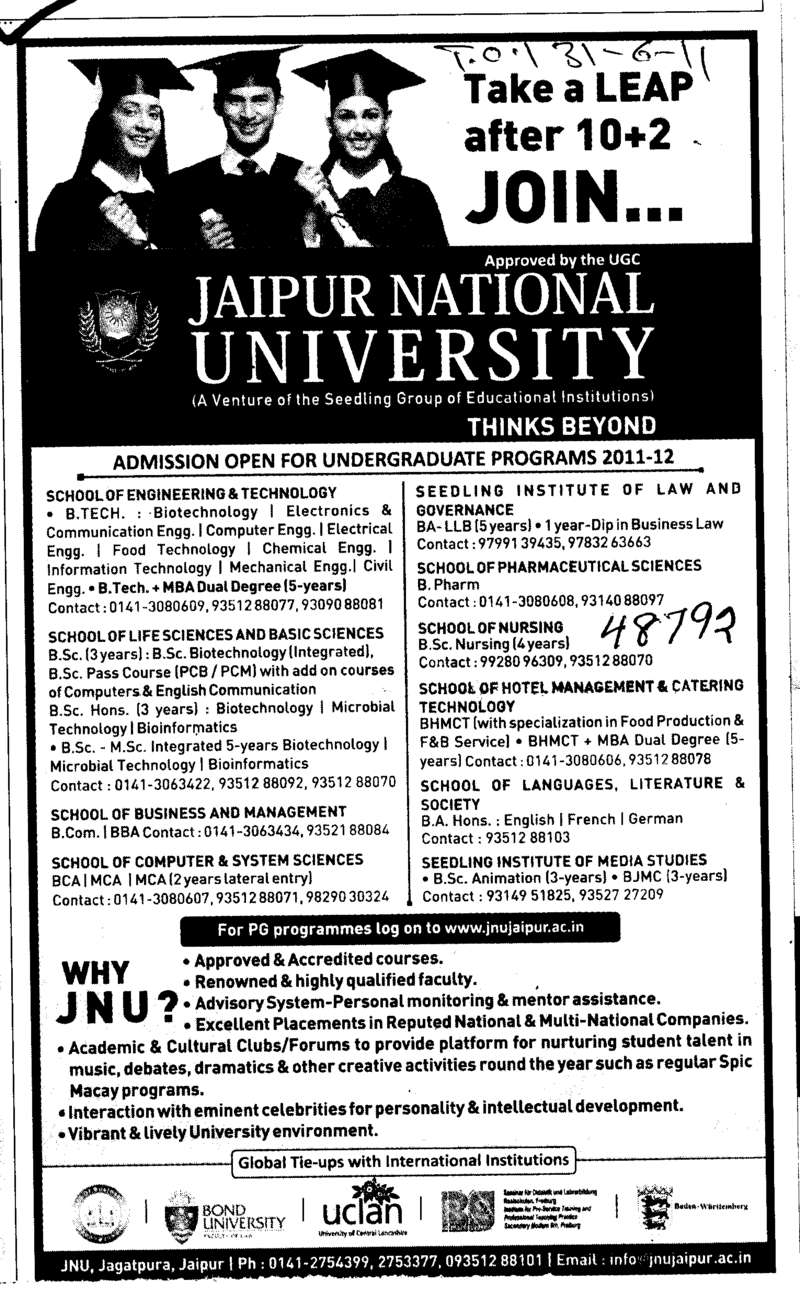 Under Graduate Programmes (Jaipur National University)