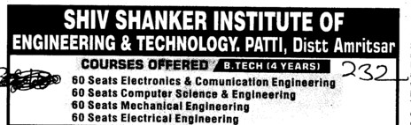 BTech in ECE ME Civil and EE etc (Shiv Shankar Institute of Engineering and Technology (SSIET))