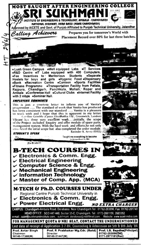 BTech PhD and MTech etc (Sri Sukhmani Institute of Engineering and Technology)