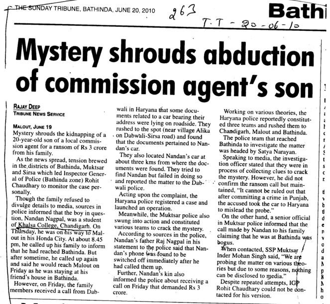 Mystery shrouds abduction of commission agents son (SGGS Khalsa College Sector 26)