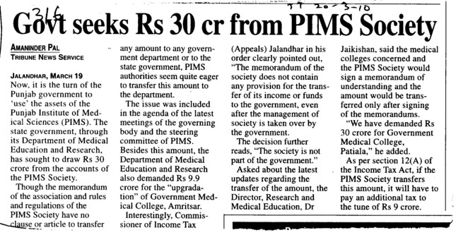 Govt seeks Rs 30cr from PIMS Society (Punjab Institute of Medical Sciences (PIMS))