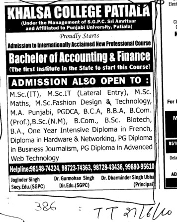 MSc IT BCA BSc BA and PGDCA etc (Khalsa College)