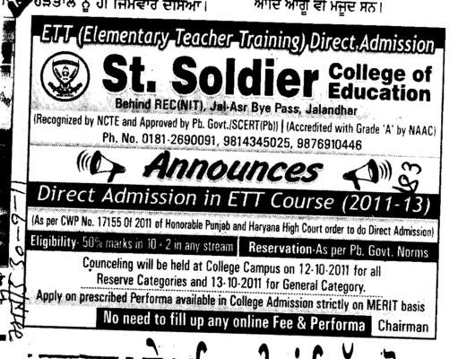 Direct Admission ETT Courses (St Soldier College of Education)