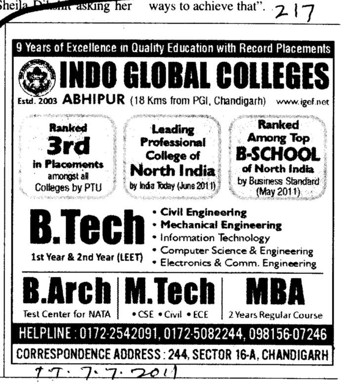B Tech M Tech and Architecture etc (Indo Global College of Engineering)
