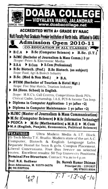 BCA BBA BSc and Diploma in Computer Application etc (Doaba College)