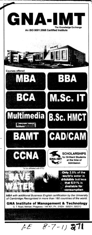 MBA BBA BCA and CCNA etc (GNA Institute of Management and Technology)