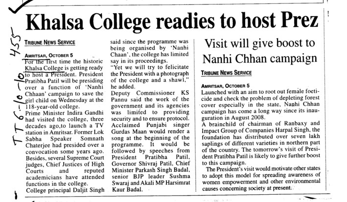 Khalsa College readies to host prez (Khalsa College)