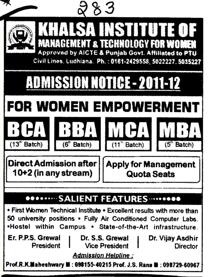 BBA BCA MBA and MCA etc (Khalsa Institute of Management and Technology for Women)