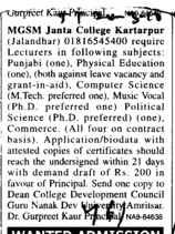 Lecturers in Physical Education and Punjabi etc (MGSM Janta College)