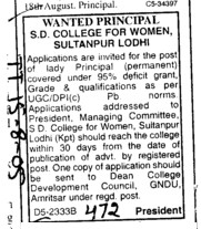 Wanted Principal (SD College for Women)