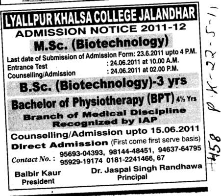 MSc and BSc Biotechnology (Lyallpur Khalsa College of Boys)