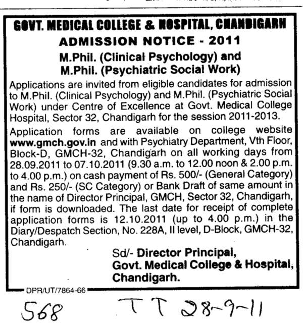 M Phill Clinical Psychology (Government Medical College and Hospital (Sector 32))