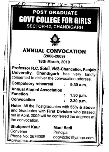 Annual Convocation (PG Government College for Girls (GCG Sector 42))