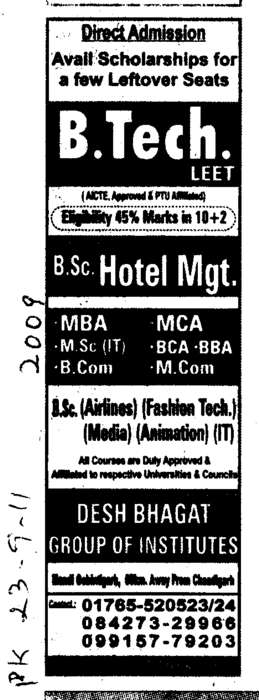B Tech and BSc Hotel Managemnet (Desh Bhagat Group of Institutes)