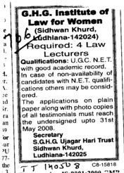 Lecturers for Law (GHG Institute of Law for Women Sidhwan Khurd)