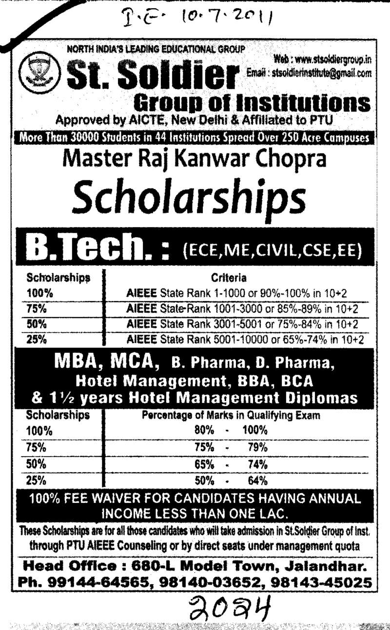 B Tech MBA MCA and Hotel Management (St Soldier Group)
