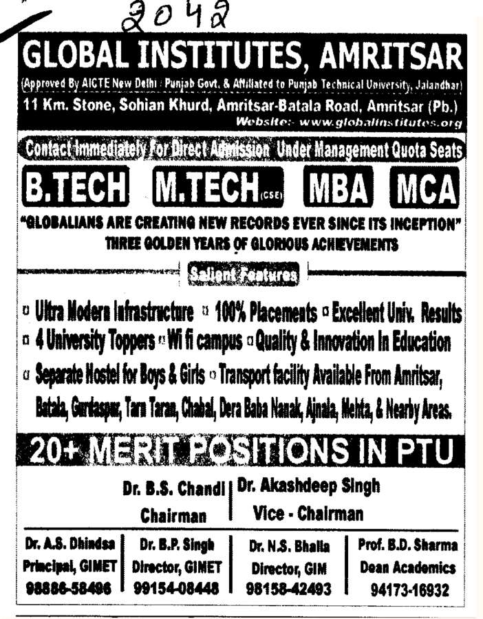 B Tech  M Tech and MBA etc (Global Institutes Group)