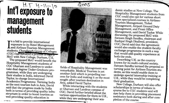 Intl exposure to management students (Chandigarh Group of Colleges)
