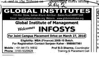 Joint Campus Placement Drive (Global Institutes Group)