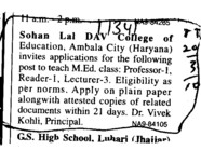 Proffessor Reader and Lecturer etc (Sohan Lal DAV College of Education)