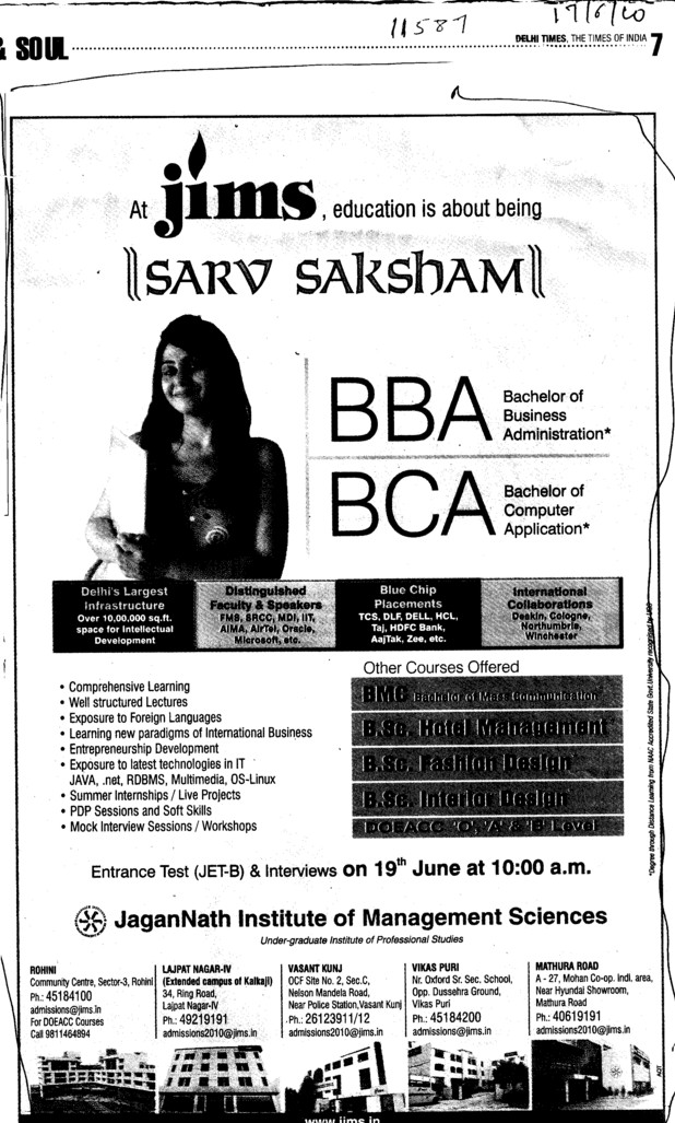 BBA and BCA (Jagannath Institute of Management Studies (JIMS))