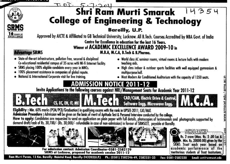 B Tech MBA and MCA etc (SRMS College of Engineering & Technology)