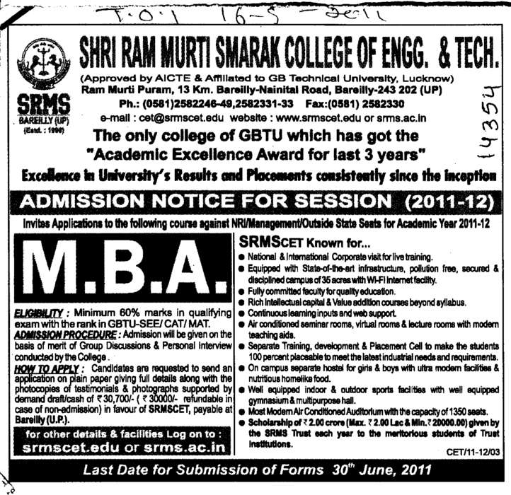 (SRMS College of Engineering & Technology)