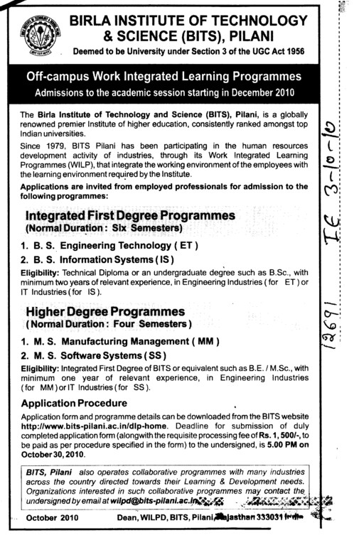 BS in Information System and Software System etc (Birla Institute of Technology and Science (BITS))