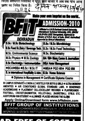 BSc in Food Technology and Biochemistry etc (Baba Farid Institute of Technology (BFIT))