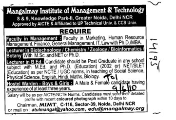 Lecturer in Chemistry Zoology and Bioformatics etc (Mangalmay Institute of Management and Technology (MIMT))