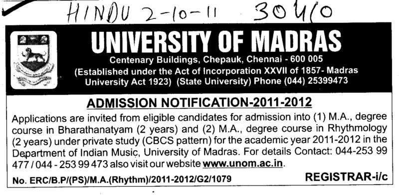 MA Degree Course (University of Madras)