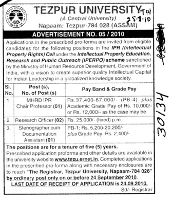 Chair Proffessor and Research Officer etc (Tezpur Central University)