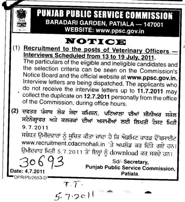 Post of Veterinary Officers (Punjab Public Service Commission (PPSC))